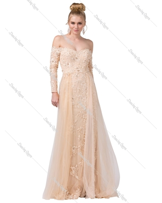 Dancing Queen - 2566 Long Sleeve Appliqued Lace Overskirt Gown