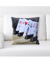 Rug Tycoon Piano with Playing Cards Throw Pillow PW-pianowithplayingcards