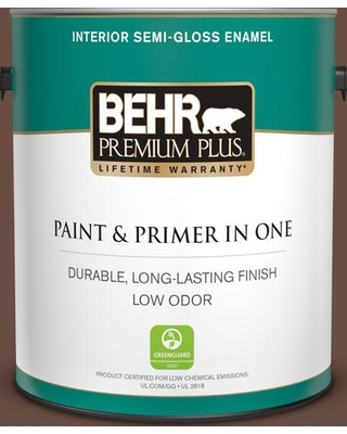 BEHR Premium Plus 1 gal. #MQ2-05A Authentic Brown Semi-Gloss Enamel Low Odor Interior Paint and Primer in One