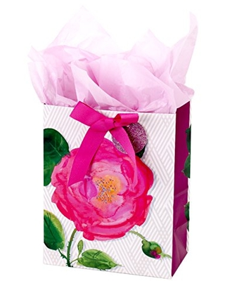 """Hallmark 9"""" Medium Gift Bag with Tissue Paper (Pink Rose) for Birthdays, Mothers Day, Bridal Showers, Weddings or Any Occasion"""