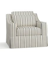 York Slope Arm Slipcovered Deep Seat Armchair, Down Blend Wrapped Cushions, Antique Stripe Gray