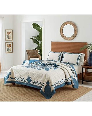 Tommy Bahama Aloha Pineapple Quilt, Full/Queen, Blue