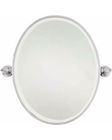 "Minka 24"" x 24 1/2"" Oval Chrome Bathroom Wall Mirror"
