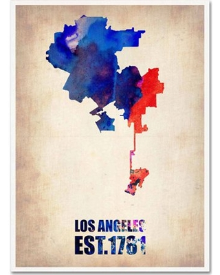 "Trademark Fine Art ""Los Angeles Watercolor Map 2"" Canvas Art by Naxart"