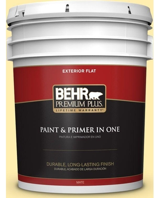 BEHR Premium Plus 5 gal. #370A-2 Pale Daffodil Flat Exterior Paint and Primer in One