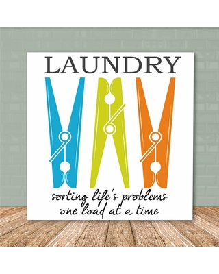 """Courtside Market 16 in. x 16 in. """"Laundry Room III"""" Canvas Printed Wall Art, White"""