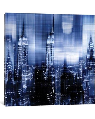 """East Urban Home 'NYC - Reflections in Blue II' Graphic Art Print on Canvas EAUU1340 Size: 37"""" H x 37"""" W x 0.75"""" D"""