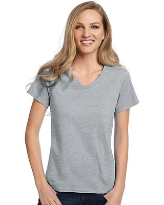 Hanes Women's Relaxed Fit TAGLESS ComfortSoft V-Neck T-Shirt Light Steel XL