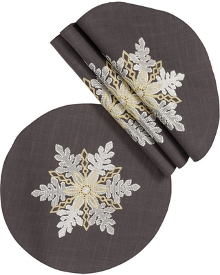 Xia Home Fashions 0.1 in. H x 16 in. W Round Sparkling Snowflakes Embroidered Double Layer Christmas Placemat (Set of 4), Dark Gray