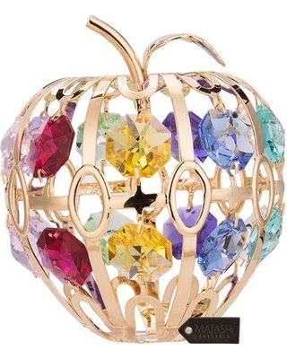 Matashi Crystal 24K Gold Plated Apple Sculpture MT13408