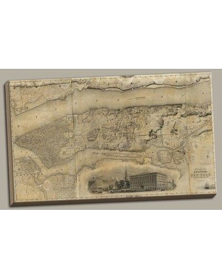 Darby Home Co 'Beautiful Vintage Historic Map of New York' Graphic Art Print on Wrapped Canvas BI004713