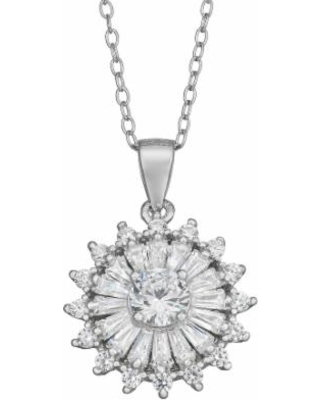 """""""Sterling Silver Cubic Zirconia Pendant Necklace, Women's, Size: 18"""", White"""""""