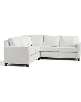 Cameron Square Arm Upholstered 3-Piece L-Shaped Corner Sectional, Polyester Wrapped Cushions, Performance Everydaylinen(TM) by Crypton(R) Home Ivory