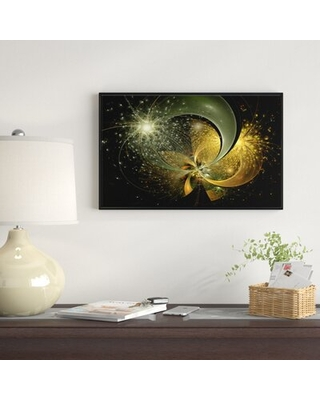 """'Golden Fractal Flower with Silver Star' Framed Graphic Art Print on Wrapped Canvas East Urban Home Size: 14"""" H x 22"""" W x 1"""" D"""