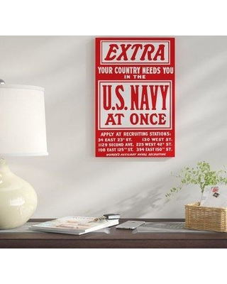 """East Urban Home 'WWII Recruitment Poster' Vintage Advertisement on Canvas UBAH9736 Size: 18"""" H x 12"""" W x 0.75"""" D"""