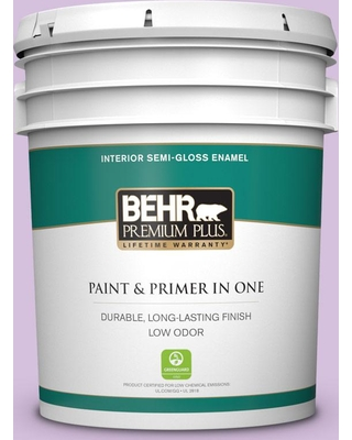 BEHR Premium Plus 5 gal. #660A-3 New Violet Semi-Gloss Enamel Low Odor Interior Paint and Primer in One