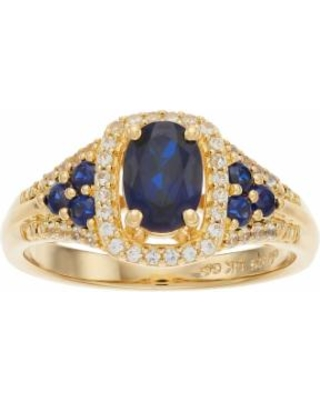 14k Gold Over Silver Lab-Created Blue & White Sapphire Oval Halo Ring, Women's, Size: 7