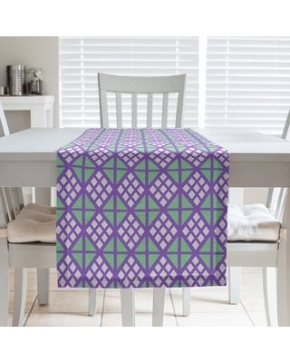 Two Color Diamonds Table Runner (16 x 72 - Polyester - Purple & Green)