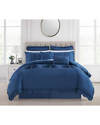 Chic Home Yvette 8 Piece Comforter Set Ruffled Pleated Flange Border Design Bedding - Bed Skirt Decorative Pillows Shams Included, Queen, Blue