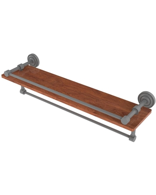 Allied Brass Dottingham Collection 22 in. IPE Ironwood Shelf with Gallery Rail and Towel Bar in Matte Gray