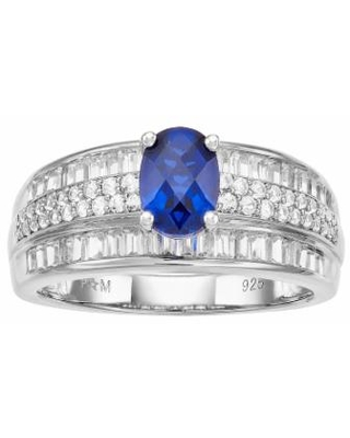 Sterling Silver Lab-Created Blue & White Sapphire Ring, Women's, Size: 7