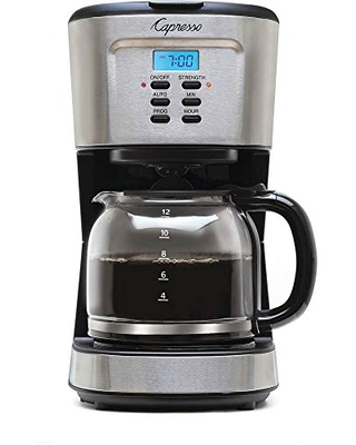 Capresso 12-Cup Coffee Maker with Glass Carafe, Stainless and Black 416.05