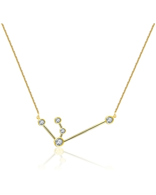Genevieve Collection - Aquarius Zodiac Constellation Necklace 18K Yellow Gold & Diamond
