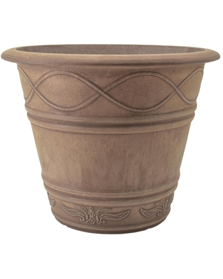 Arcadia Garden Products Western Weave 14 in. x 11-1/2 in. Taupe Composite PSW Pot, Brown