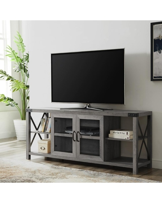 Welwick Designs 60 in. Gray Wash Composite TV Stand Fits TVs Up to 68 in. with Storage Doors