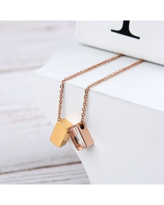 Anavia See You Cremation Necklace for Ashes, Mini See Through Urn Necklace, Mini Cube Cremation Pendant, Cremation Jewelry, Memorial Jewelry, Mini Urn-[Gold & Rose Gold]