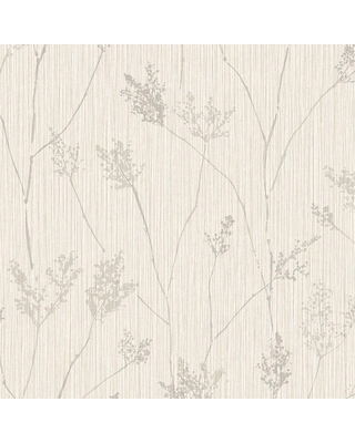 Spectacular Sales For Norwall Cow Parsley Vinyl Strippable Roll Wallpaper Covers 56 Sq Ft Grey And Cream