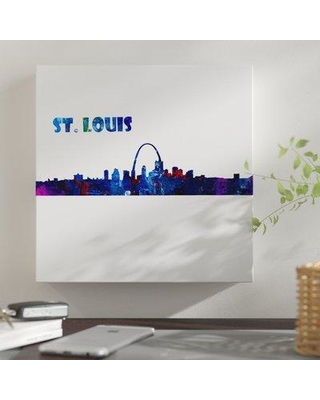 """East Urban Home 'St. Louis Skyline Scissor Q Foreground' Graphic Art Print on Wrapped Canvas BI044366 Size: 14"""" H x 14"""" W x 2"""" D Format: Wrapped Canvas"""