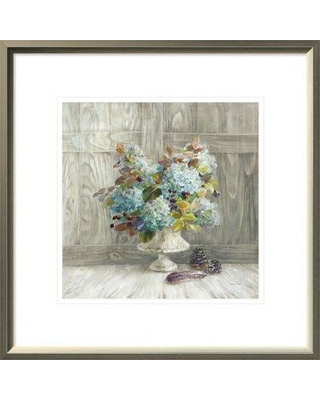 """East Urban Home 'Rustic Florals' Print ESUM6315 Size: 19.63"""" H x 19.63"""" W Format: White Framed"""