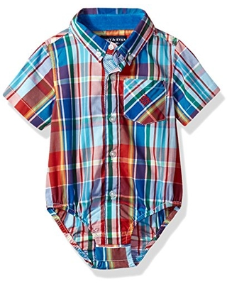Andy & Evan Baby Boys' Madras Short Sleeve Button-Down Shirt-Infant, Red, 12/18