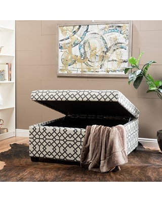 Christopher Knight Home 299569 Living Estee Grey Geometric Patterned Fabric Storage Ottoman