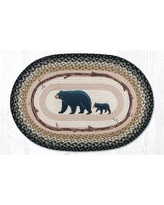 Millwood Pines Estill Mama and Baby Bear Oval Brown/Green Area Rug BF114030