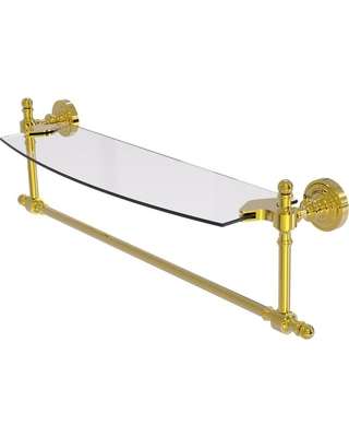 Allied Brass Retro Dot Collection 18 in. Glass Vanity Shelf with Integrated Towel Bar in Polished Brass