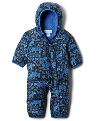 Columbia Kids' Baby Boys Snuggly Bunny Bunting, Bright Indigo Fiercesome Print, 0-3 Months