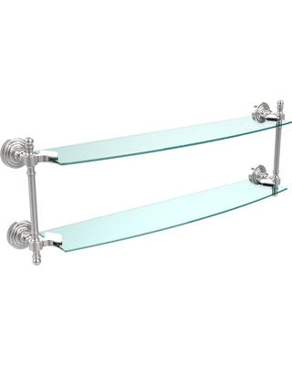 Allied Brass Retro Wave Collection 24 in. Two Tiered Glass Shelf in Polished Chrome