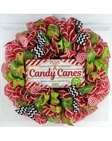 Clearance Christmas Front Door Wreath | Candy Cane Wreath | Red Lime Green White Black Mesh Decor