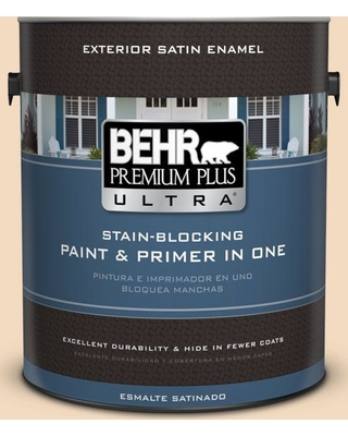 BEHR Premium Plus Ultra 1 gal. #S270-1 Frosted Toffee Satin Enamel Exterior Paint and Primer in One