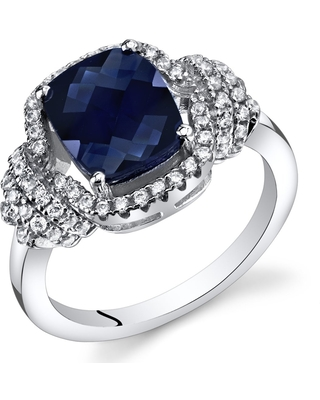Oravo Sterling Silver 2.75-carat Created Sapphire Cushion-cut Ring (6)