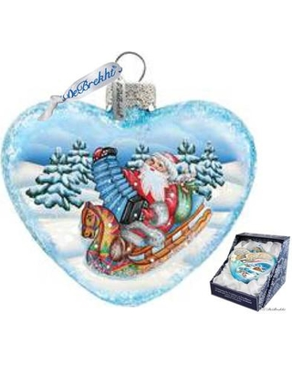The Holiday Aisle Love Heart Accordion Santa Glass Ornament HDAY3087
