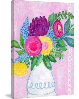 """Marmont Hill 'Flowers In Vase' by Jill Lambert Painting Print on Wrapped Canvas MH-SHNJIL-21-C- Size: 24"""" H x 16"""" W x 1.5"""" D"""