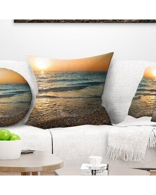 """East Urban Home Seascape Gloomy Atlantic Beach Portugal Pillow VOIN3978 Size: 16"""" x 16"""" Product Type: Throw Pillow"""
