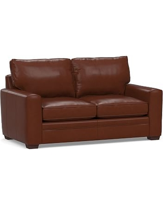 "Pearce Square Arm Leather Sofa 74"", Down Blend Wrapped Cushions, Signature Whiskey"