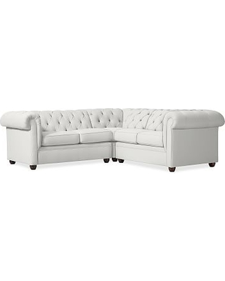 Chesterfield Upholstered Left Arm 3-Piece Corner Sectional, Polyester Wrapped Cushions, Performance Everydaylinen(TM) by Crypton(R) Home Ivory