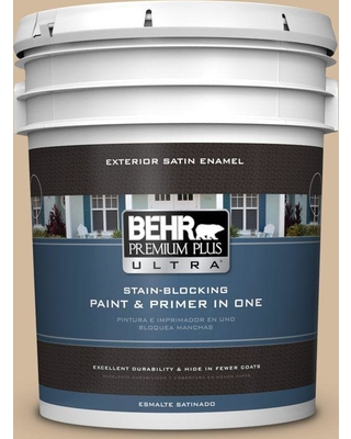 BEHR ULTRA 5 gal. #S280-3 Practical Tan Satin Enamel Exterior Paint and Primer in One