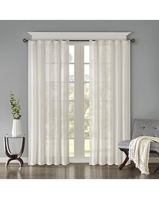 "Madison Park Harper Solid Crushed Window Curtain Panels Pair Drapes for Bedroom Living Room and Dorm, 42"" W x 84"" L, White"