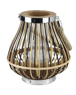 """9.25"""" Rustic Chic Pear Shaped Rattan Candle Holder Lantern with Jute Handle"""